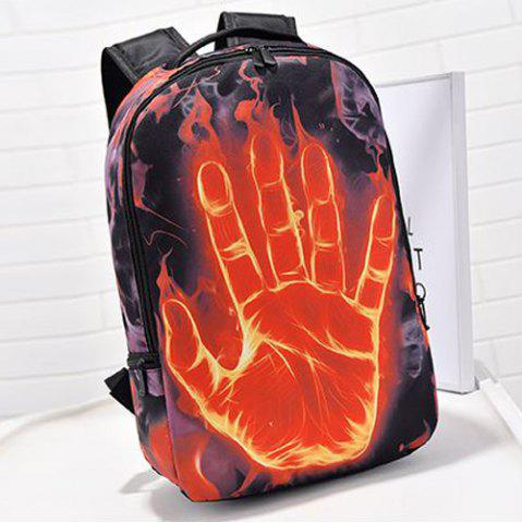 Discount Zipper Hand Print Color Splicing Backpack - BLACK  Mobile
