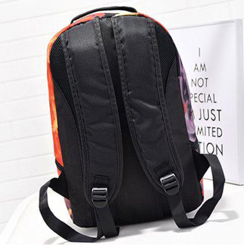 Fancy Zipper Hand Print Color Splicing Backpack - BLACK  Mobile