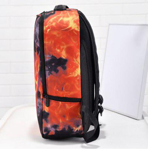Outfits Zipper Hand Print Color Splicing Backpack - BLACK  Mobile