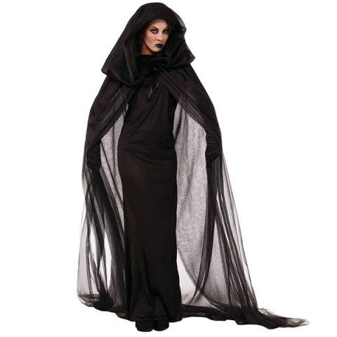 Fancy Dress Halloween Cosplay Sorcière capuche Costume Set - Noir 2XL