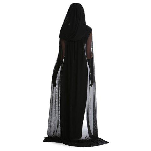 Shops Fancy Dress Cosplay Suit Witch Hooded Halloween Costume Supplies - 2XL BLACK Mobile