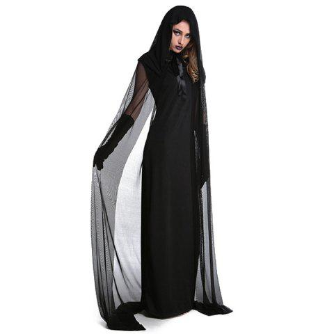 Fashion Fancy Dress Cosplay Suit Witch Hooded Halloween Costume Supplies - 2XL BLACK Mobile