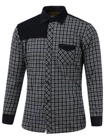 Best Tartan Splicing Design Turn-Down Collar Fleece Shirt