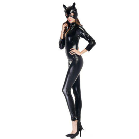 Online Patent Leather with Kitten Neutral Locomotive Halloween Party Dress Suit - 2XL BLACK Mobile