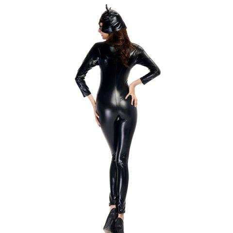 Best Patent Leather with Kitten Neutral Locomotive Halloween Party Dress Suit - L BLACK Mobile