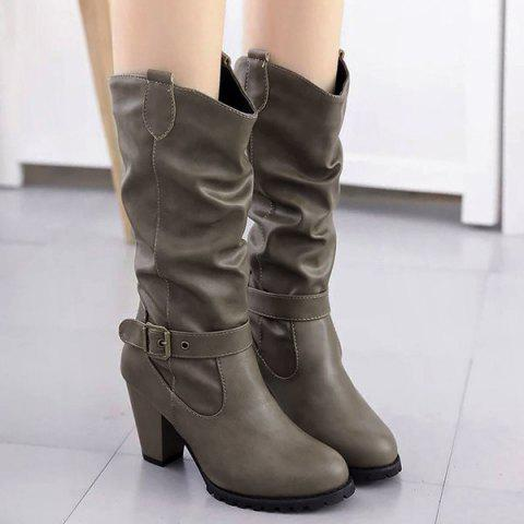 Affordable Buckle Strap Ruched Chunky Heel Boots KHAKI 39