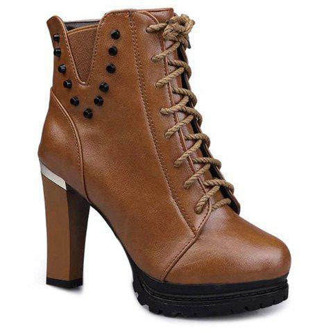 Fancy Rivet Chunky Heel Lace-Up Ankle Boots LIGHT BROWN 38
