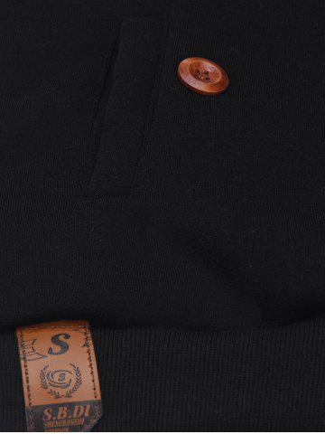 Discount Elbow Patch Long Sleeve Drawstring Pullover Hoodie - L BLACK Mobile