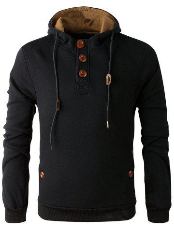 Chic Elbow Patch Long Sleeve Drawstring Pullover Hoodie - M BLACK Mobile
