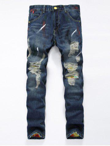 Shops Zipper Fly Colorful Paint Design Distressed Jeans