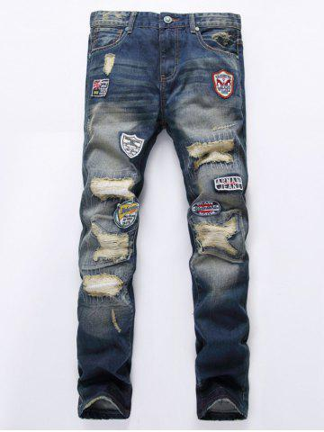 Fashion Zipper Fly Holes and Appliques Design Jeans