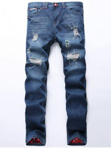 Best Zipper Fly Scratched Straight Leg Ripped Jeans