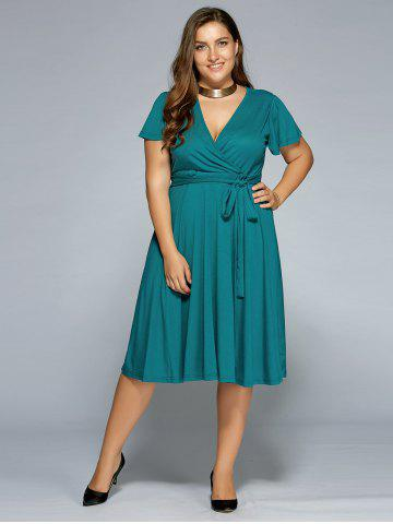 ca308aed9c8 Low Cut A Line Plus Size Surplice Front Tie Swing Dress - Green - 5xl
