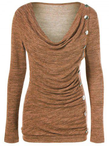 Latest Side Button Cowl Neck Knitted Long Sleeve Sweater - YELLOW OCHER L Mobile