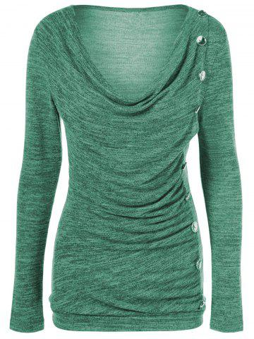 Side Button Cowl Neck Knitted Long Sleeve Sweater - Jade Green - M