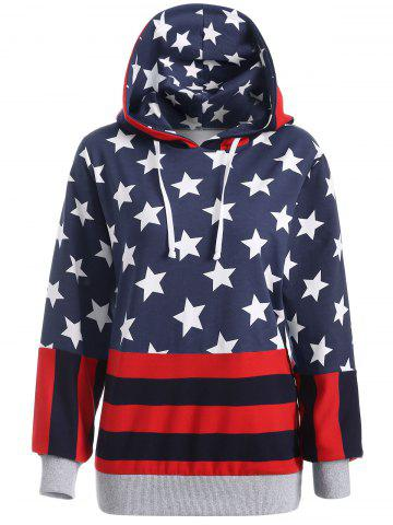 Chic Flag Print Pullover Hoodie