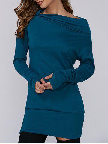 Outfits Skew Neck Tunic T-Shirt DISTANT BLUE XL