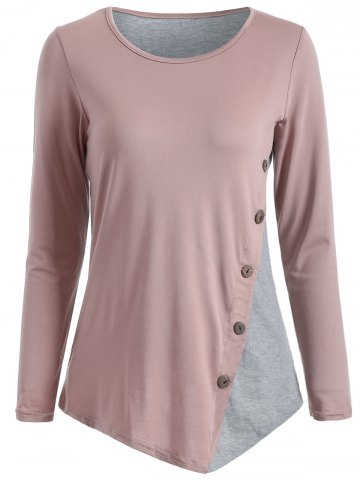 Shop Color Block Buttoned T-Shirt NUDE PINK XL