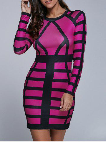 Trendy Long Sleeve Color Block Bodycon Mini Dress ROSE RED S