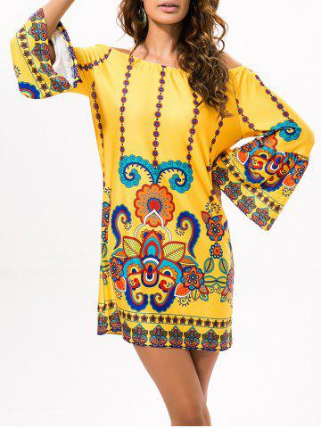 Chic Off The Shoulder Cashew Nuts Mini Dress
