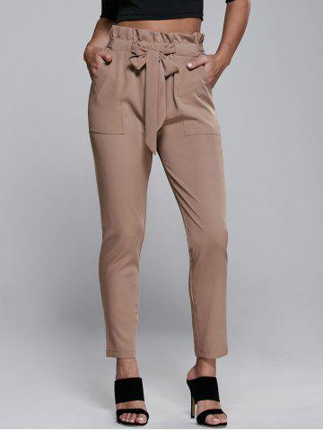 Discount High Waisted Belted Slimming Narrow Feet Pants KHAKI XL