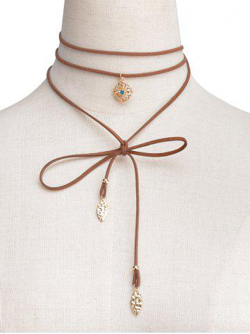 Online Rhinestone Flower Wrap Choker Necklace BROWN