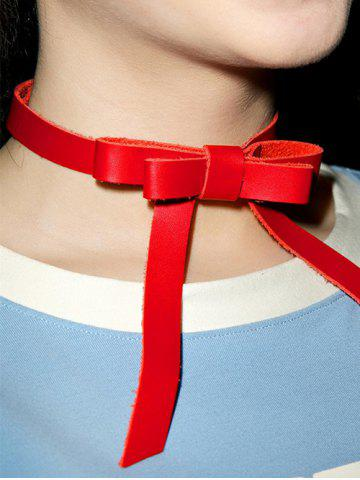 Fancy Vintage Faux Leather Bows Choker Necklace RED