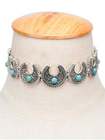 Trendy Vintage Moon Faux Turquoise Engraved Choker SILVER