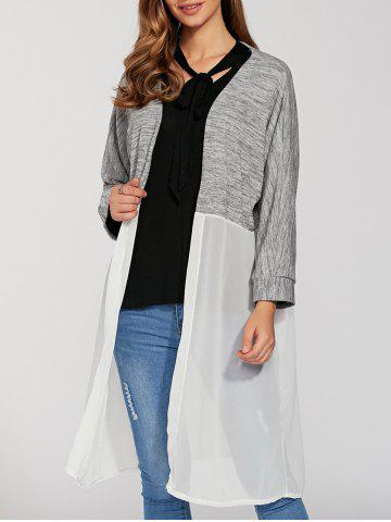 Outfit Open Front Chiffon Spliced Cardigan