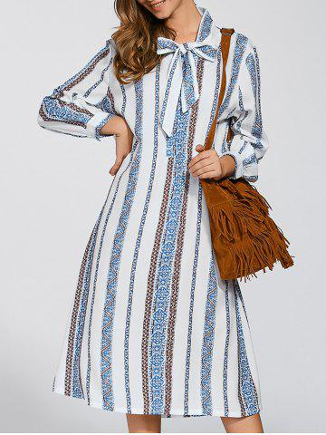Latest Long Sleeve Tie Striped Shift Dress