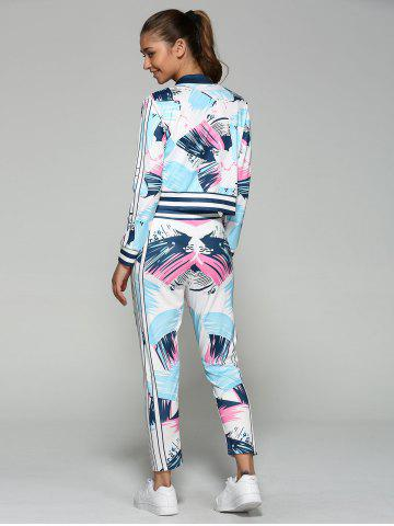 Outfits Bomber Running Jacket with Printed Pants - S BLUE Mobile