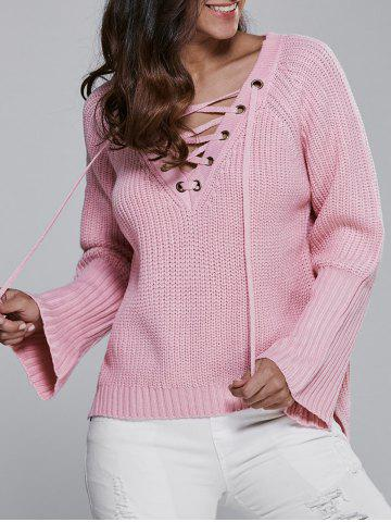 Discount V Neck Long Sleeve Lace Up Sweater PINK ONE SIZE