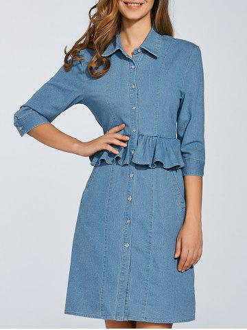 Affordable Peplum Denim Shirt Dress With Sleeves