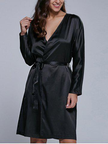 Long Sleeve Satin Wrap Dress With Pockets - Black - S