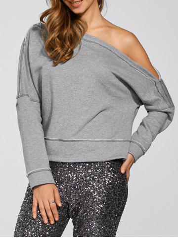 Fancy Long Sleeve One-Shoulder Loose Casual Sweatshirt GRAY 2XL