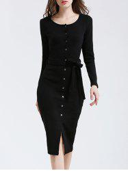 Belted Button Down Long Sleeve Bodycon Dress -