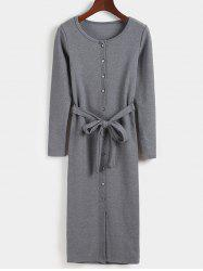 Slimming Belted Button Down Bodycon Dress - GRAY