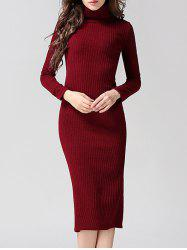 Knitted Back Slit Slimming Bodycon Dress -