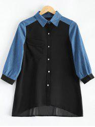 Plus Size Faux Opal Button Denim Match Chiffon Shirt