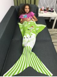 Snowflakes and Santa Claus Pattern Knitting Christmas Mermaid Blanket -