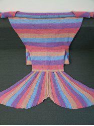Warmth Multicolor Stripes Design Knitted Mermaid Tail Blanket -