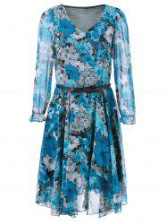 V Neck Belted Chiffon Casual Short Flowy Dress - BLUE L