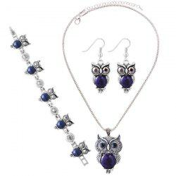 A Suit of Faux Gem Owl Jewlry Set - DEEP BLUE