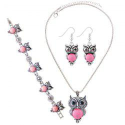 A Suit of Faux Gem Owl Jewlry Set - PINK
