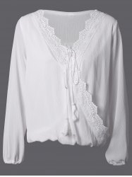 V Neck Lace Spliced Wrap Loose Blouse -