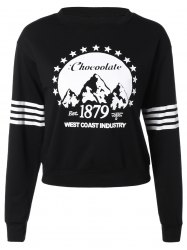 Jewel Neck Long Sleeve Sports Printed Loose Sweatshirt - BLACK L