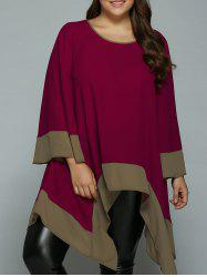 Plus Size Flare Sleeve Asymmetrical Blouse - WINE RED