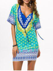 Printed Beach Bodycon Dress - GREEN