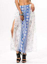 High Slit Bohemian Print Maxi Skirt -