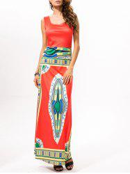 Printed Ethnic Style Maxi Dress